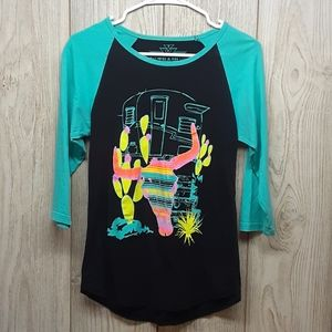 CRAZY TRAIN Teal and Black 3/4 Sleeve Shirt